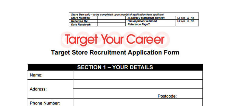 Target Application – Target Application Form