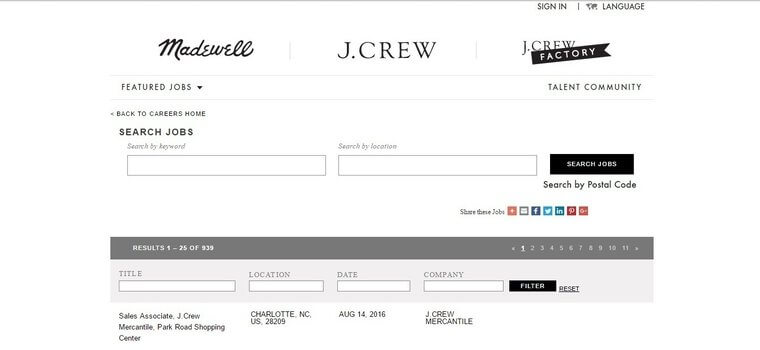 J Crew job application